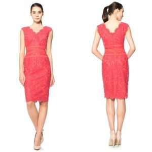 Tadashi Shoji Lace V-Neck Dress with Ribbon Bodice